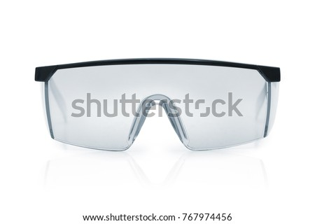 Goggles or Safety Glasses. Protective workwear to protect human eyes. Single object isolated over a white background. Royalty-Free Stock Photo #767974456