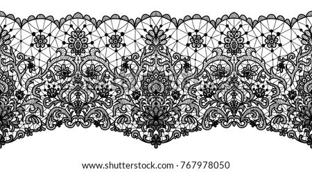 Black lace ribbon isolated on white. Horizontally seamless design