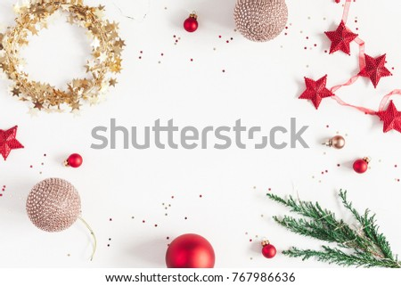 Christmas composition. Christmas balls, garland, red and golden decorations on white background. Flat lay, top view, copy space #767986636