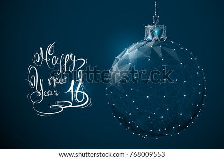 christmas ball low poly wireframe. Vector polygonal image in the form of a starry sky or space, consisting of points, lines, and shapes in the form of stars. New Year decorations concept