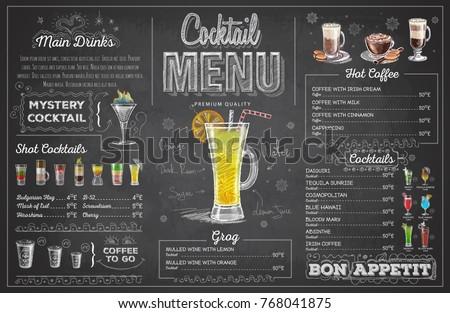 Vintage chalk drawing cocktail menu design. Restaurant menu Royalty-Free Stock Photo #768041875
