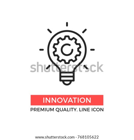 Vector innovation icon. Light bulb and cog inside. Premium quality graphic design element. Modern sign, linear pictogram, outline symbol, simple thin line icon Royalty-Free Stock Photo #768105622