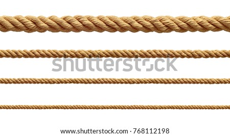 collection of  various ropes string on white background. each one is shot separately Royalty-Free Stock Photo #768112198