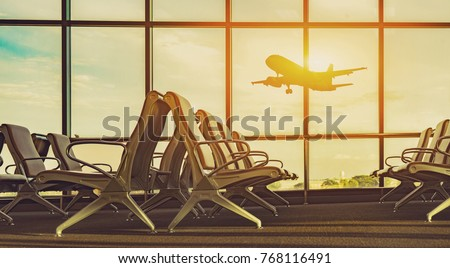 passenger seat in Departure lounge for see Airplane, view from airport terminal.sun light in vintage color selective focus,transport and travel concept #768116491