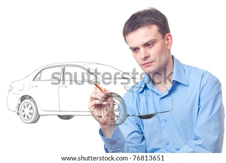 Men drawing a car isolated on white background