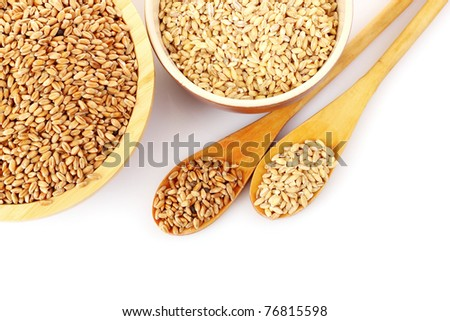 Wheat in plates isolated on white #76815598