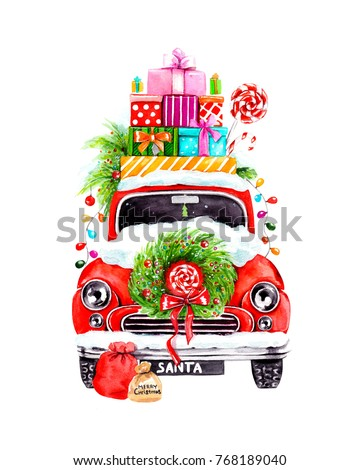 Watercolor illustration of Santa Claus's car with gifts