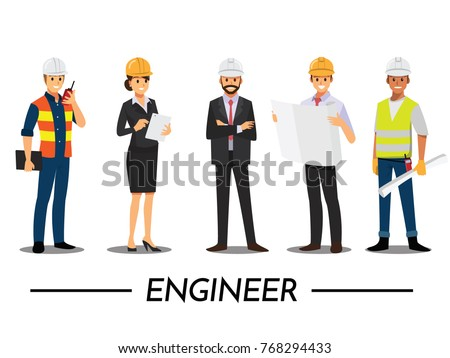 Technician and builders and engineers and mechanics and Construction Worker People teamwork ,Vector illustration cartoon character. Royalty-Free Stock Photo #768294433
