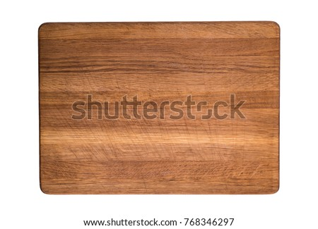 old wooden kitchen cutting board isolated on white background #768346297