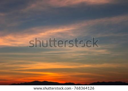 Beautiful sky at sunrise Natural background #768364126