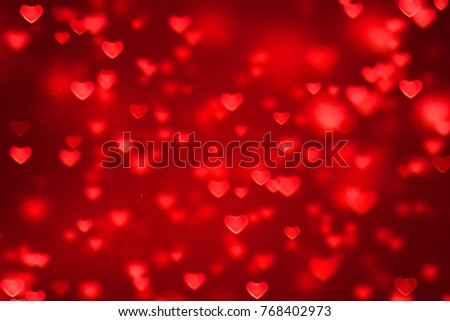 abstract christmas gradient red gradient background with bokeh glitter and red hearts shape flowing, valentine day love relationship holiday event festive concept