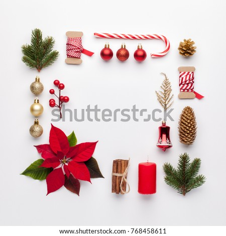 Christmas composition. Frame made of christmas decoration on white background. Flat lay, top view. #768458611