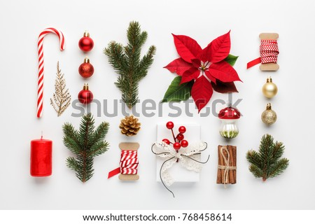Christmas composition made of christmas decoration on white background. Flat lay, top view. #768458614