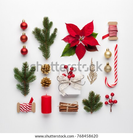 Christmas composition made of christmas decoration on white background. Flat lay, top view. #768458620