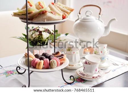 traditional English tea, high tea Royalty-Free Stock Photo #768465511