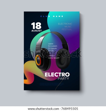 Electronic music festival poster mockup. Vector illustration of electro party invitation template. Club event flyer with realistic 3d headphones and multicolored gradient streaming liquid shape.
