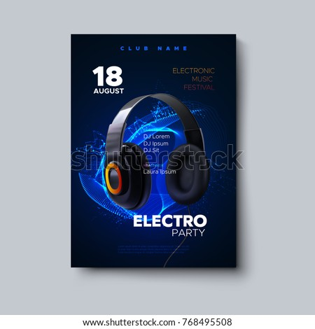 Electronic music festival poster mockup. Vector illustration of electro party invitation template. Club event flyer with realistic 3d headphones and neon glowing explosion of particles.