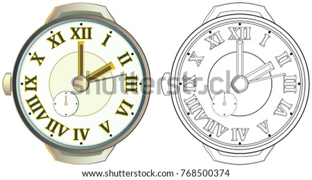 Colorful and black and white pattern of watch. Worksheet for children and adults. Vector image. #768500374
