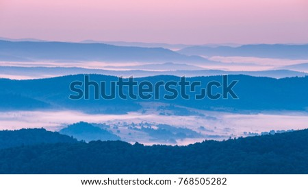 Foggy landscape in Bieszczady Mountains, Poland, Europe #768505282