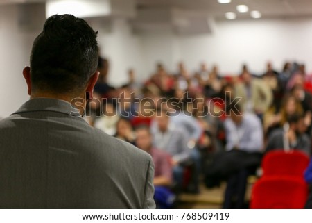 Businessman in the auditorium, Conference Hall, successful startup business, seminar and education young business people. #768509419