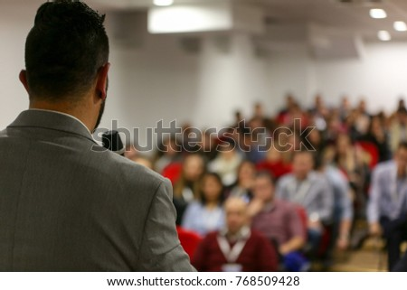 Businessman in the auditorium, Conference Hall, successful startup business, seminar and education young business people. #768509428
