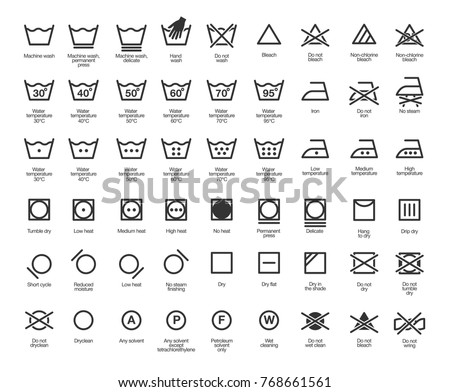 Laundry Vector Icons set, full collection Royalty-Free Stock Photo #768661561