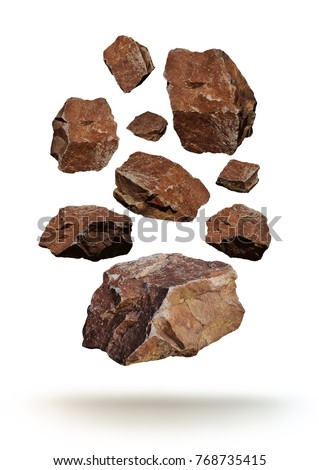 Floating falling brown rocks Royalty-Free Stock Photo #768735415