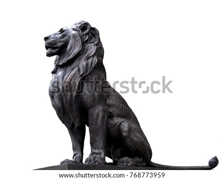 metal detailed isolated on white lion sculpture in front of the parliament of Budapest #768773959