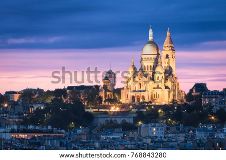 The Basilica of the Sacred Heart (Sacre Cœur Basilica). Montmartre, Paris, France #768843280