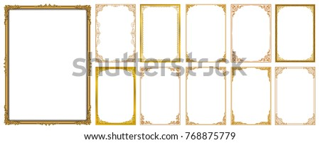 Set of Decorative vintage frames and borders set,Gold photo frame with corner Thailand line floral for picture, Vector design decoration pattern style. border design is pattern Thai art style Royalty-Free Stock Photo #768875779