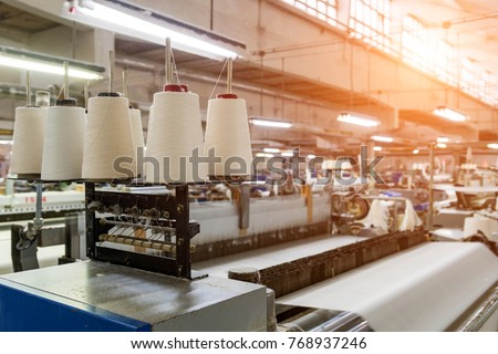 Rolls of industrial cotton fabric for clothing cloth textile manufacture on machine  Royalty-Free Stock Photo #768937246