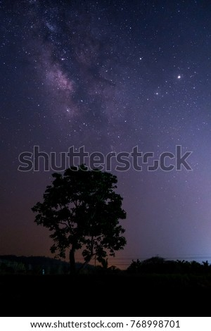 Mountains, rivers, stars and the Milky Way in the beautiful night sky. #768998701