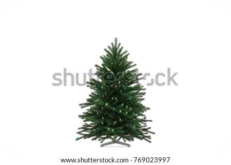 Christmas tree on white background. 3D Render #769023997