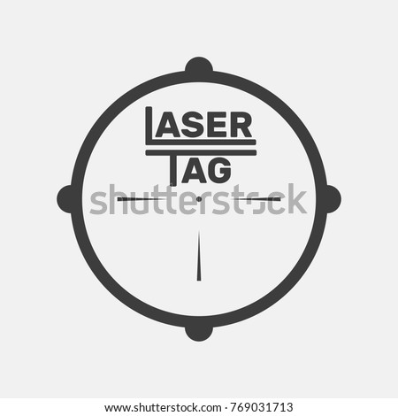 Logo for laser tag, flat design, vector illustration, target target pattern from rifle, gray, white, black, airsoft, icon, team