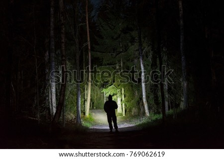 Man standing in dark forest at night with flashlight and hoodie on head. Mystical and abstract outdoor photo of Swedish nature and landscape at winter.  Royalty-Free Stock Photo #769062619