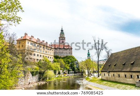 Picturesque panorama of the ancient Czech city of Cesky Krumlov #769085425
