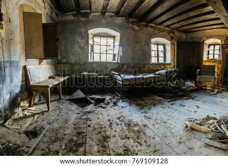 living room in abandoned farmhouse panorama view #769109128