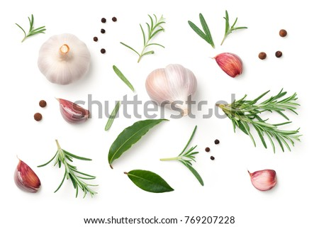 Garlic, rosemary, bay leaves, allspice and pepper isolated on white background. Flat lay. Top view  #769207228