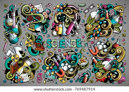 Vector hand drawn doodle cartoon set of Science theme items, objects and symbols. All objects separate.