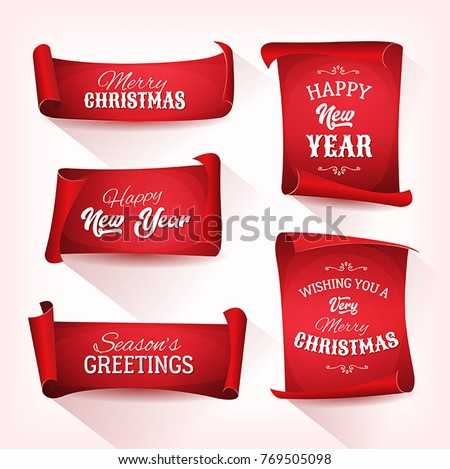 Collection of Christmas Parchment Scroll/ Illustration of a set of christmas and happy new year banners on red parchment scroll, for december and winter holidays #769505098