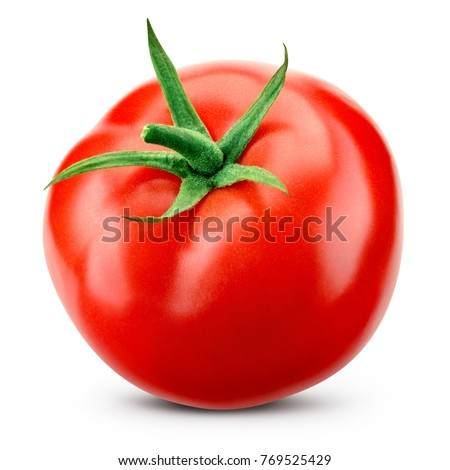 Tomato isolated. Tomato with clipping path. Full depth of field. Royalty-Free Stock Photo #769525429