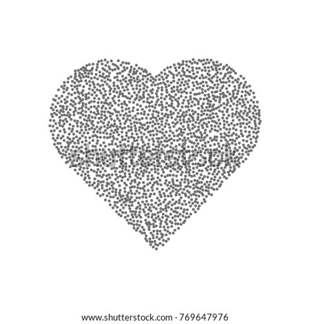 Abstract black heart consisting of dots. Heart of particles. Vector illustration. #769647976
