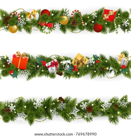 Vector Christmas Border Set with Garland isolated on white background Royalty-Free Stock Photo #769678990