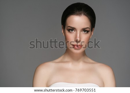 Beautyful skin care woman, beauty concept healthy face makeup, female model portrait. Spa model girl with beautiful lips neck and shoulders #769703551