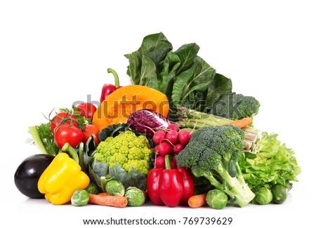 a fresh group of vegetables on white background #769739629