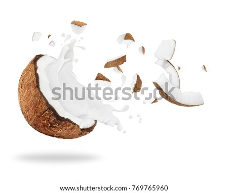 Broken coconut with milk splash, isolated on white background  #769765960