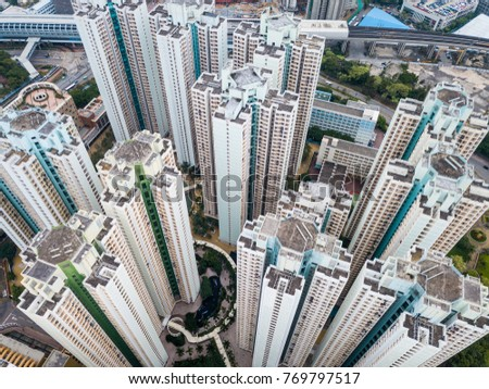 Top view of tall building in Hong Kong #769797517