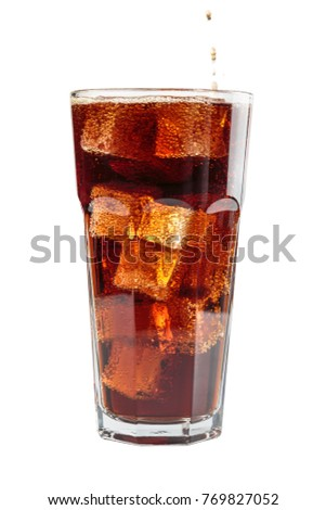 fizzy drink with ice in glass on white background #769827052