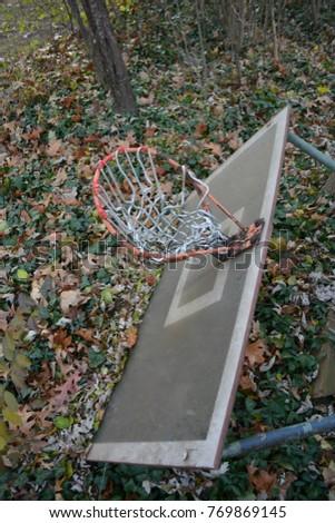 Old Abandoned Basketball Hoop  #769869145