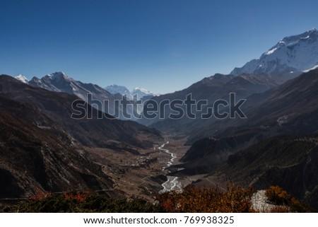 The way to tilicho lake. Annapurna circuit. Nepal #769938325